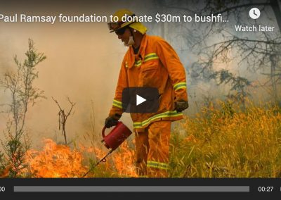 Paul Ramsay Foundation To Donate $30m To Bushfire Relief